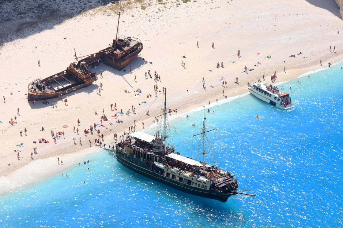 Nagio beach with shipwreck in Zakynthos, Greece